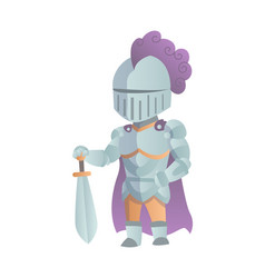 Medieval knight in full armor flat vector