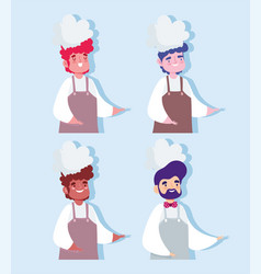 men chef professional occupation characters design vector image