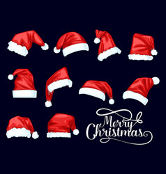 merry christmas santa claus red hats vector image
