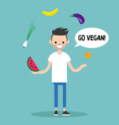 Modern lifestyle go vegan young bearded man vector