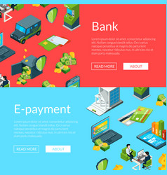 money flow in bank icons vector image