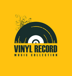 music icon with vinyl record in retro style vector image