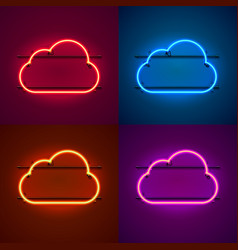 neon frame sign in shape a cloud vector image