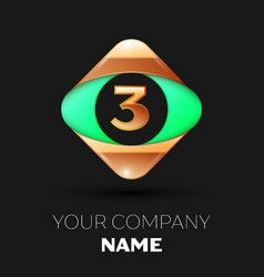 number letter three logo in the golden-green squar vector image