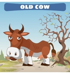 Old cow in wasteland character from wild West vector