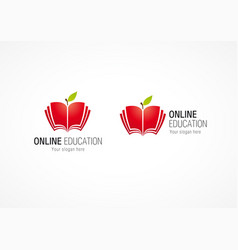 Online education logo apple book vector