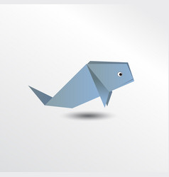 Origami whale vector