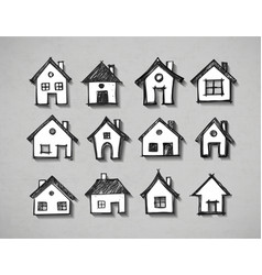 paper cut sketches houses with realistic shadow vector image