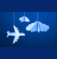 Paper flying plane in cut out paper clouds vector