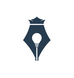 pen nib icon with bulb and crown sign vector image