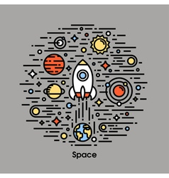 Planets stars and rocket space icons vector