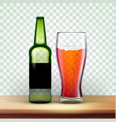 Realistic green bottle and glass with beer vector