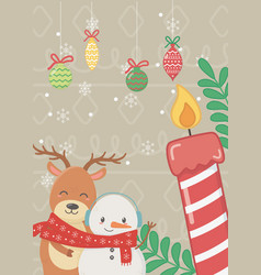 reindeer snowman with scarf and candle hanging vector image