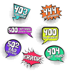 retro speech bubbles with inernet page errors vector image