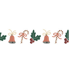 Seamless christmas border hand drawn vector