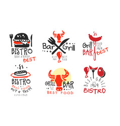 Set concise black red barbecue logos vector