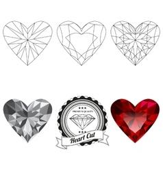 Set heart cut jewel views vector