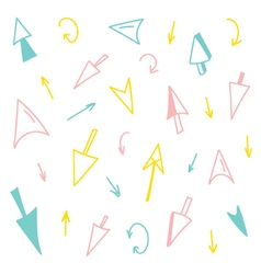 Set of colorful hand-drawn arrows vector