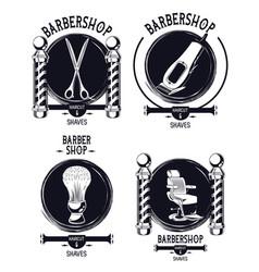 Set of vintage barbershop emblems vector