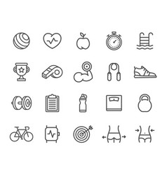 set sport line icons target smart watch vector image