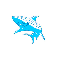 shark power logo design outline isolated template vector image
