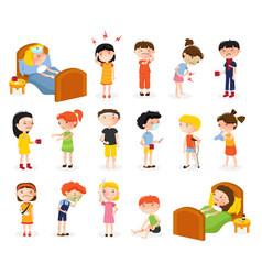Sick children doodle set vector