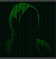 Silhouette of a hacker vector
