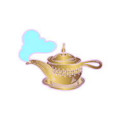 Sketch drawing icon of golden aladdin magic lamp vector