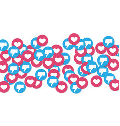 social media like and heart symbol center vector image