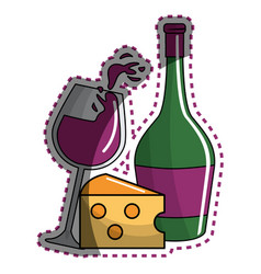 Sticker glass splashing wine and bottle and cheese vector