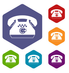 Taxi phone icons set vector