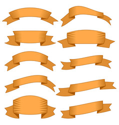 ten orange ribbons and banners for web design vector image