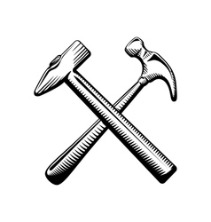 Two crossed hammers symbol vector image