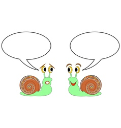 Two funny cartoon snails with talk bubbles vector image
