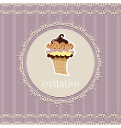 Vintage card-invitation with cupcake vector image