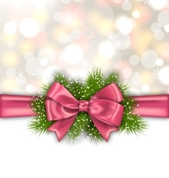 Winter Elegant Background with Pink Bow Ribbon vector