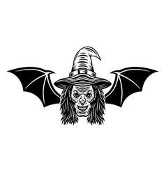 Witch head with bat wings vector
