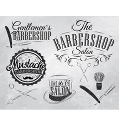 Barbershop Set chalk coal vector image vector image