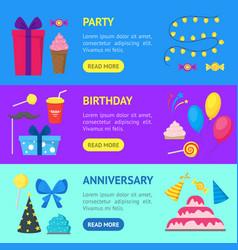 cartoon party holiday banner horizontal set vector image vector image