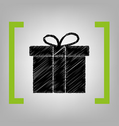 gift box sign black scribble icon in vector image vector image