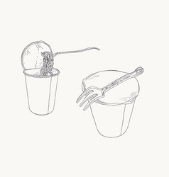 instant noodle in cup sketch set vector image vector image