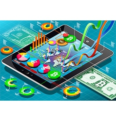 Isometric Virtual Coin Infographic on Tablet vector image