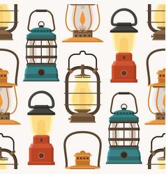 retro lantern or gas lamp pattern vector image vector image