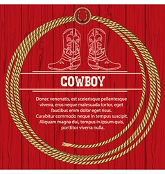 American background with cowboy boots and rope vector
