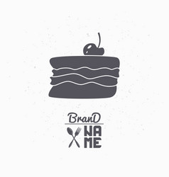 hand drawn silhouette of cake with cherry vector image vector image