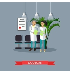 Male and female doctor talking in hospital vector image