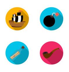 pirate bandit ship sail pirates set collection vector image