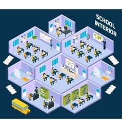 School isometric interior vector image vector image