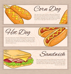 set of hand drawn fast food banners with corn dog vector image