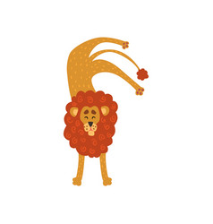 cute lion cartoon character standing upside down vector image